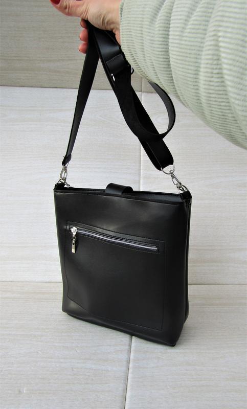 Черная сумка с кольцом handmade - Фото 3