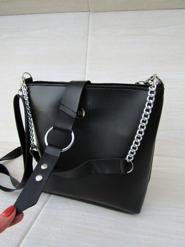 Черная сумка с кольцом handmade - Фото 4