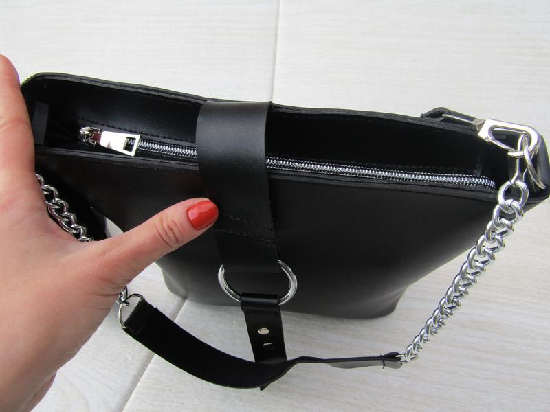Черная сумка с кольцом handmade - Фото 6