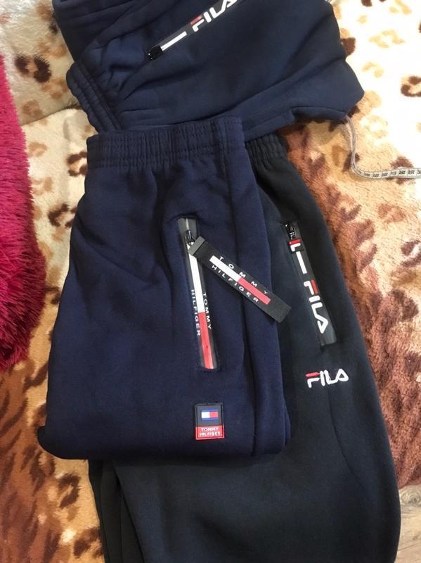 Стильные тёплые спортивные штаны брюки на флисе с боковыми кар... - Фото 4