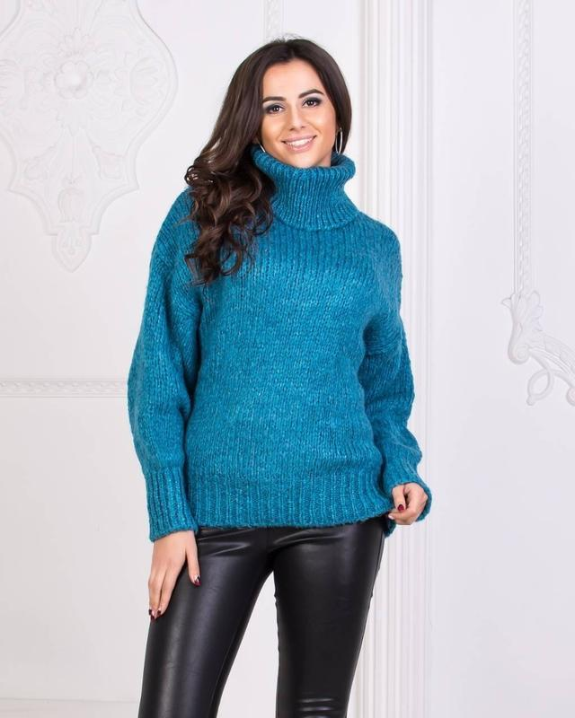 ✨👘✨красивая женская кофта с горлом, свитер, джемпер, вязаный г...