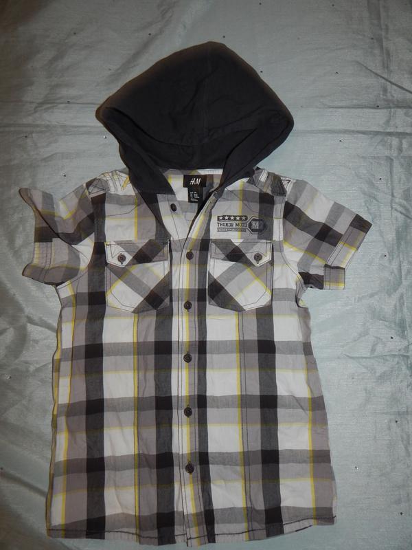 Рубашка модная в клетку с трикотажным капишоном на мальчика 8-...