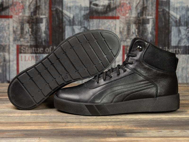 💣 зимние кроссовки на меху ► puma черные
