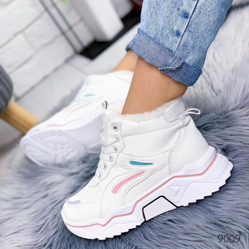 ❤ женские белые зимние кроссовки  ботинки сапоги полусапожки б...