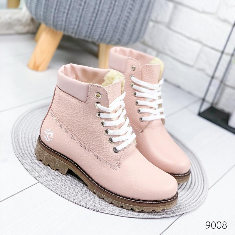 ❤ женские розовые пудровые зимние кожаные ботинки сапоги полус...