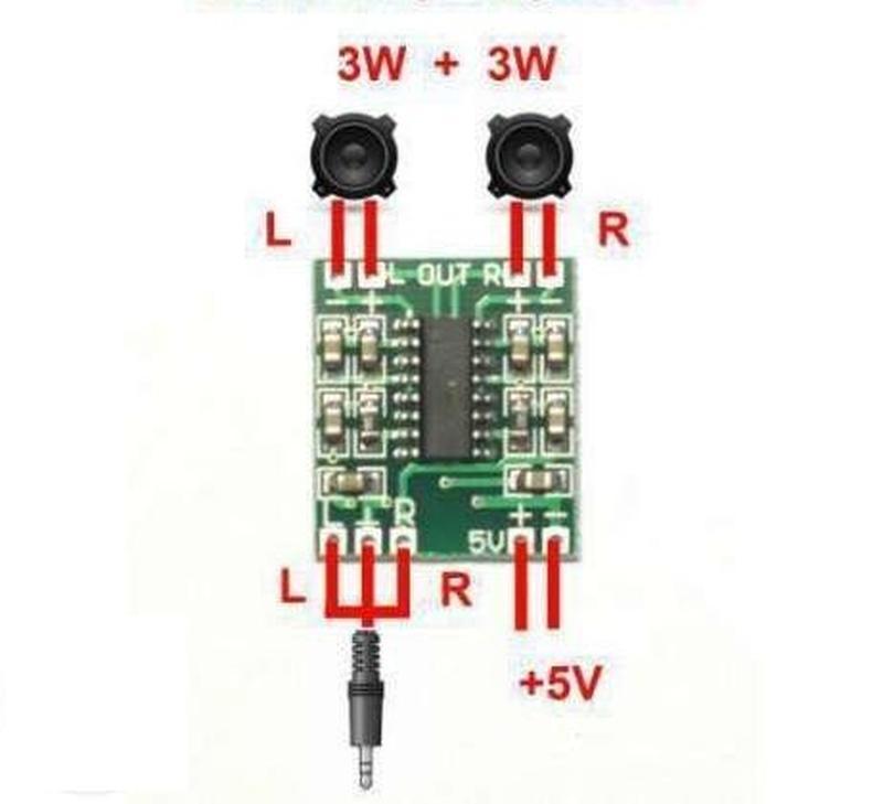 Усилитель звуковой частоты 2х3Вт, PAM8403 (стерео)