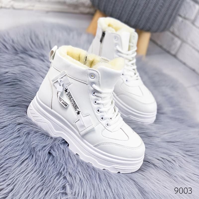 ❤ женские белые зимние  высокие кроссовки ботинки сапоги полус...