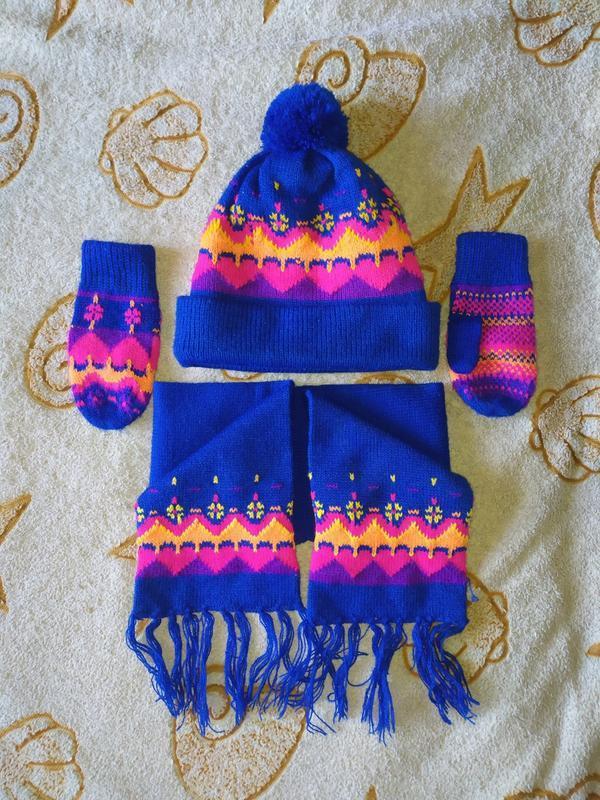 Набор шапка, шарфик, рукавички/варежки