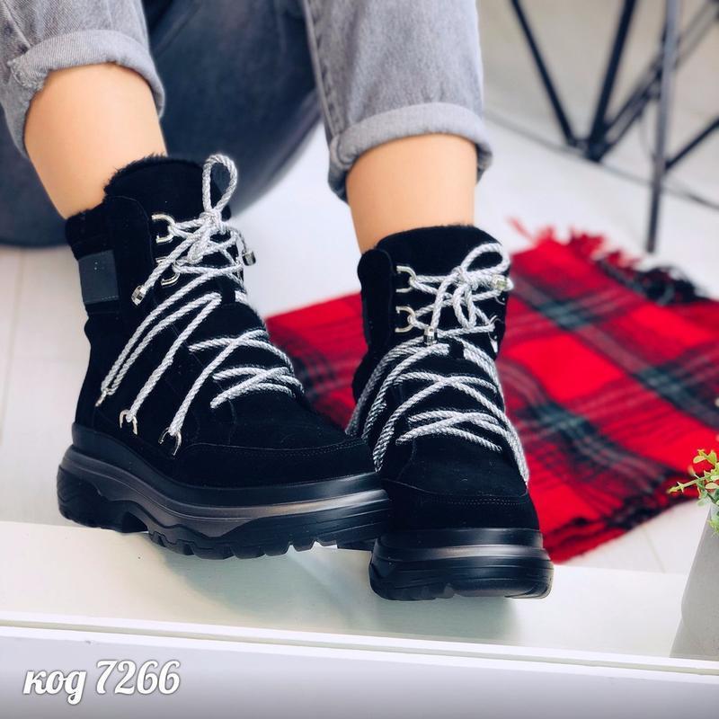 Стильные зимние ботинки из натуральной замши - Фото 4