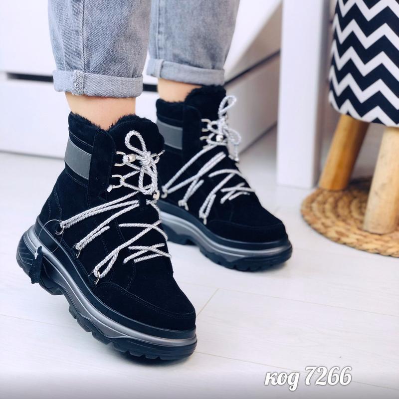 Стильные зимние ботинки из натуральной замши - Фото 5