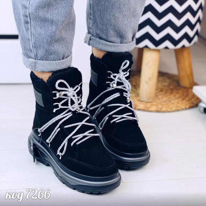 Стильные зимние ботинки из натуральной замши - Фото 6