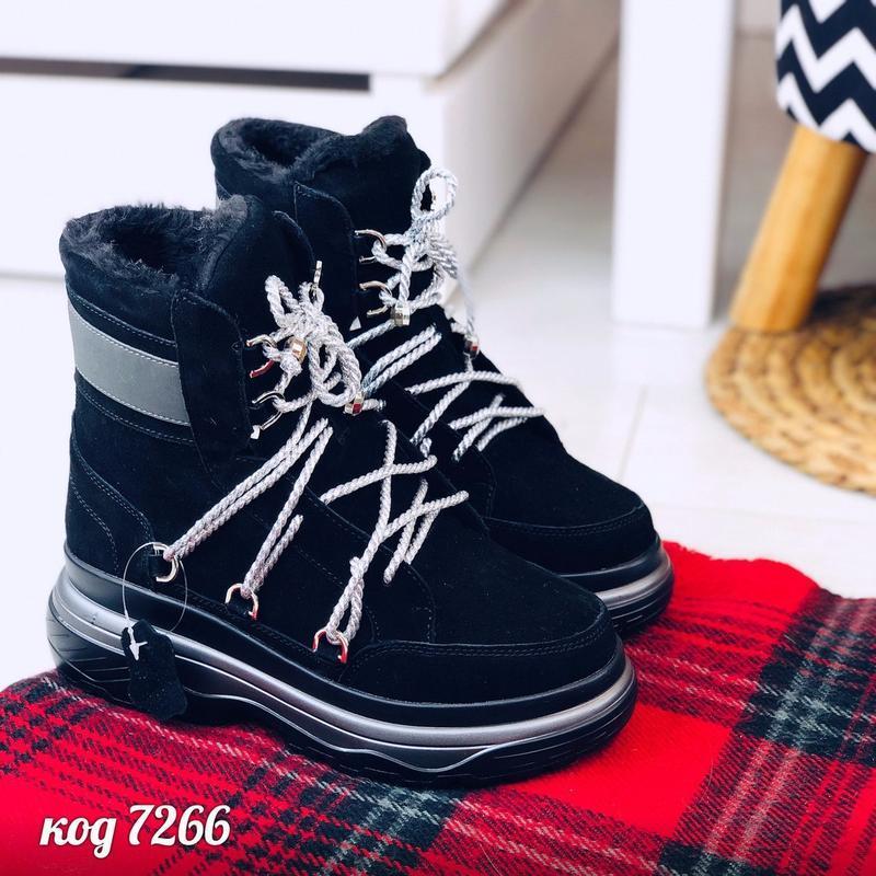 Стильные зимние ботинки из натуральной замши - Фото 7