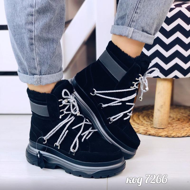 Стильные зимние ботинки из натуральной замши - Фото 8