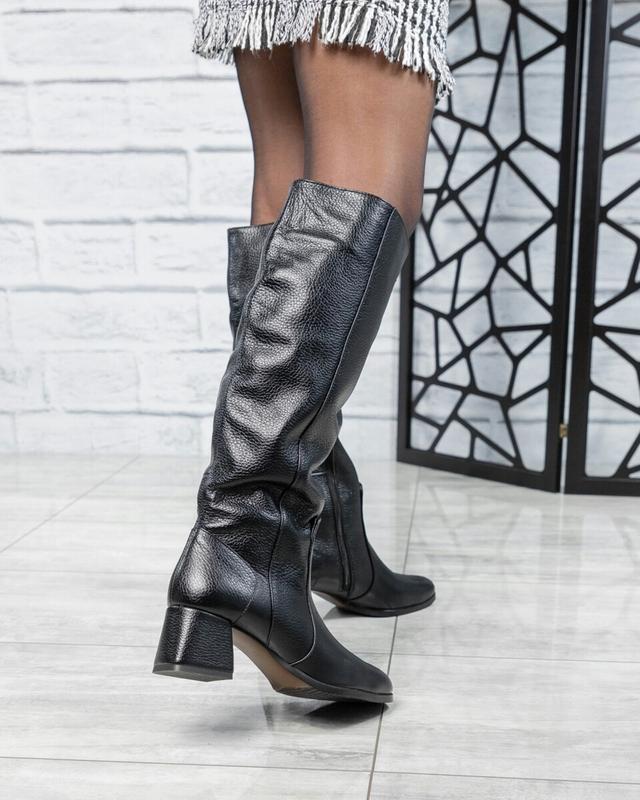 ❤ женские черные зимние кожаные высокие сапоги полусапожки бот... - Фото 2