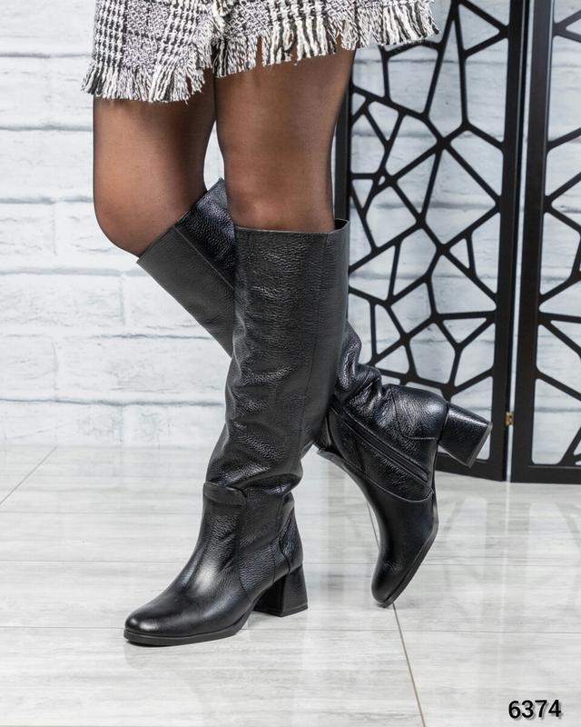 ❤ женские черные зимние кожаные высокие сапоги полусапожки бот... - Фото 3