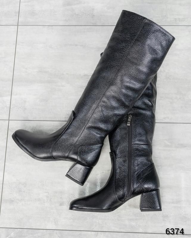❤ женские черные зимние кожаные высокие сапоги полусапожки бот... - Фото 4