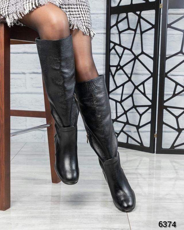 ❤ женские черные зимние кожаные высокие сапоги полусапожки бот... - Фото 5
