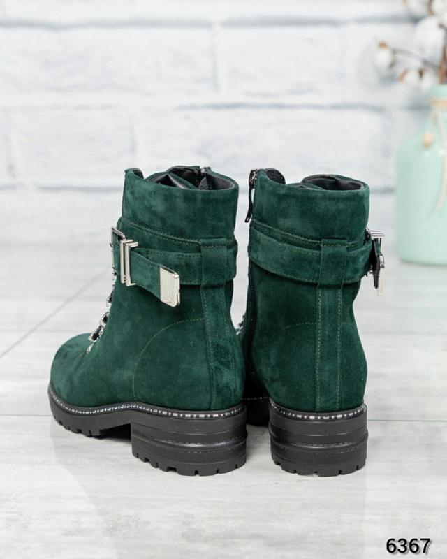 ❤ женские зеленые зимние замшевые ботинки сапоги полусапожки б... - Фото 4