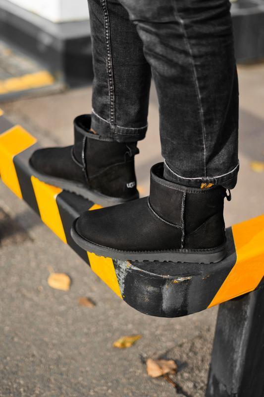 Ugg classic mini black натуральные мужские зимние сапоги угги ...