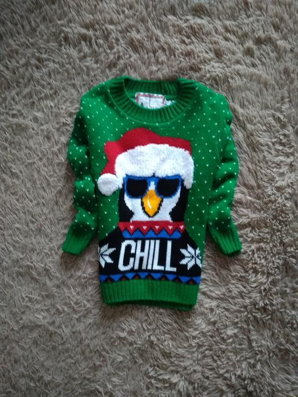 Яркий,красивий,новогодний свитерок 4-5 лет.