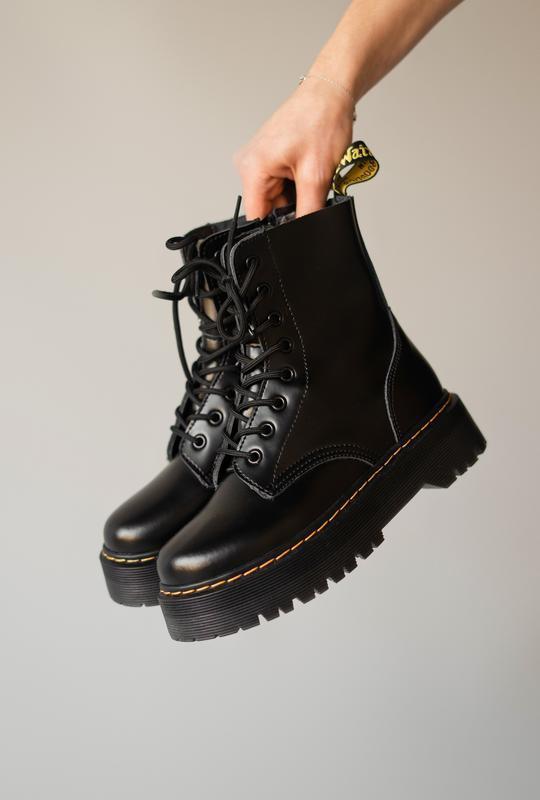 Dr. martens jadon black fur женские зимние ботинки черные март...