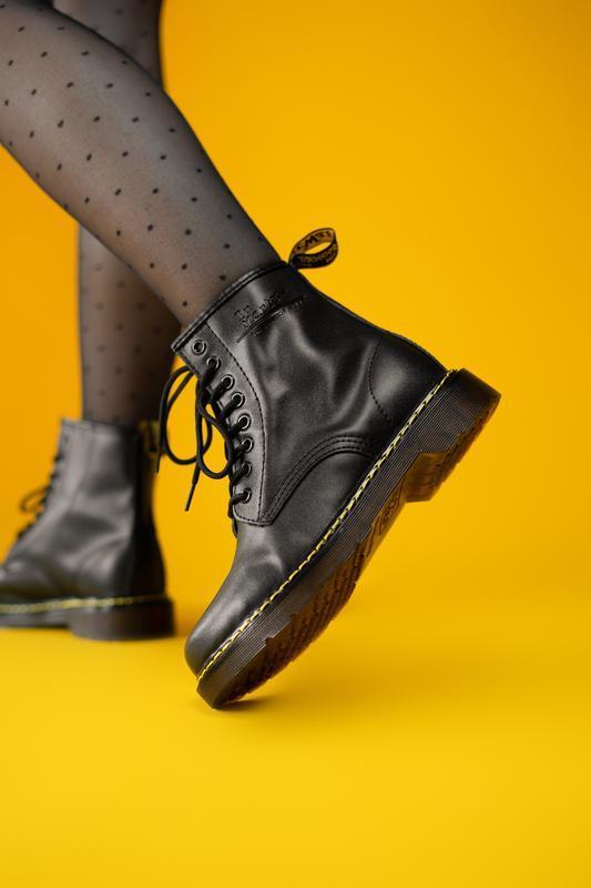 Dr. martens 1460 black fur женские зимние ботинки черные марти...