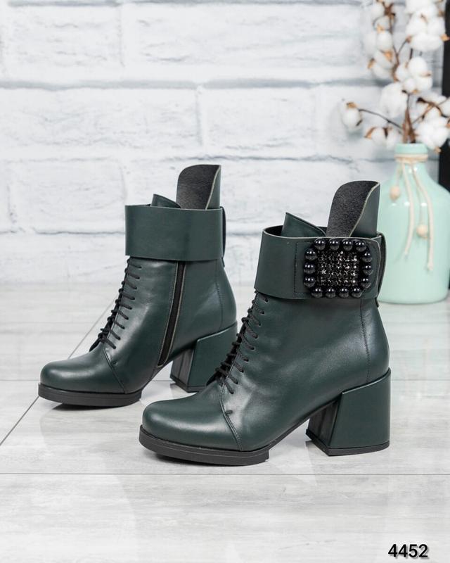 ❤ женские зеленые зимние кожаные ботинки сапоги  полусапожки н...