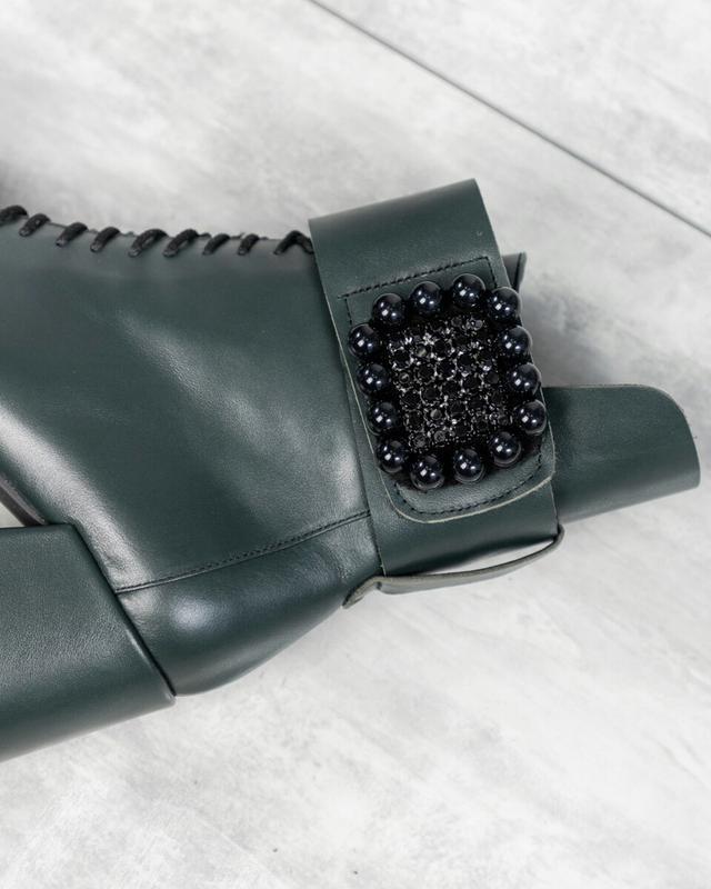 ❤ женские зеленые зимние кожаные ботинки сапоги  полусапожки н... - Фото 2