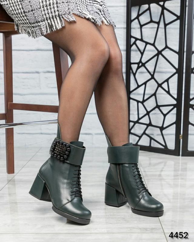 ❤ женские зеленые зимние кожаные ботинки сапоги  полусапожки н... - Фото 3