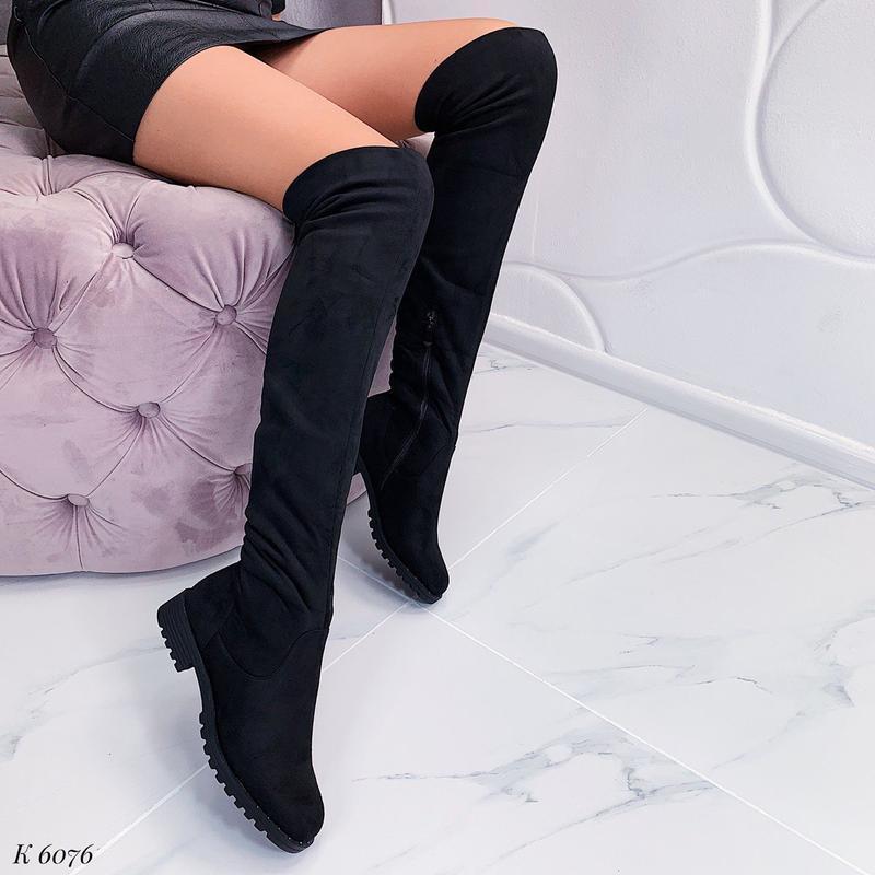Замшевые сапоги ботфорты на низком каблуке, высокие чёрные бот...