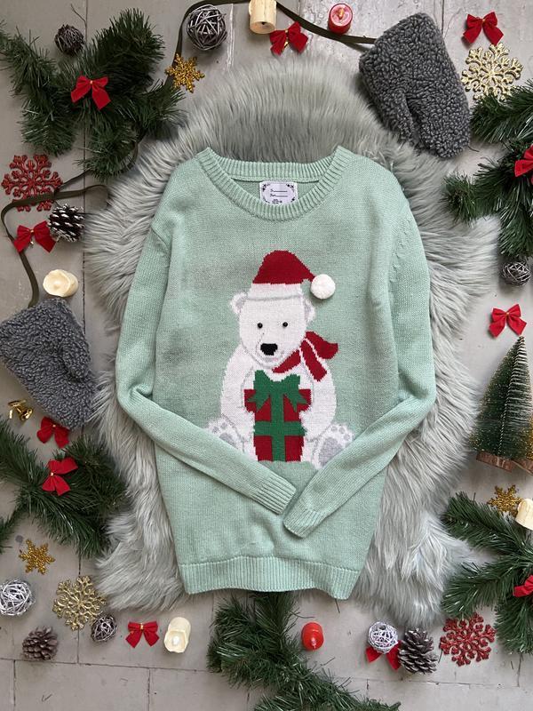 Новогодний рождественский свитер джемпер сс белым мишкой №60