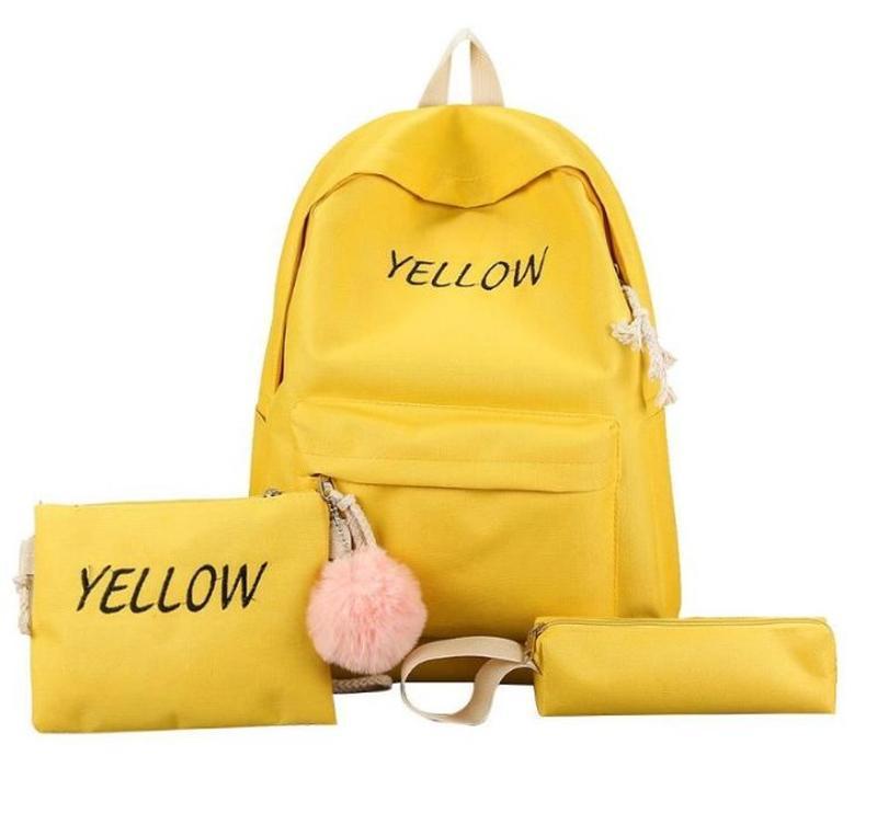 Желтый рюкзак для школы 4 в одном, женский рюкзак, школьный рю...