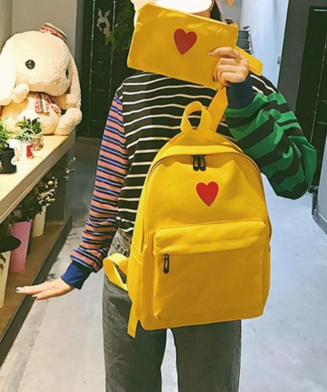 🔥🔥🔥женский рюкзак желтый с сердцем тканевый для школы + кошеле...
