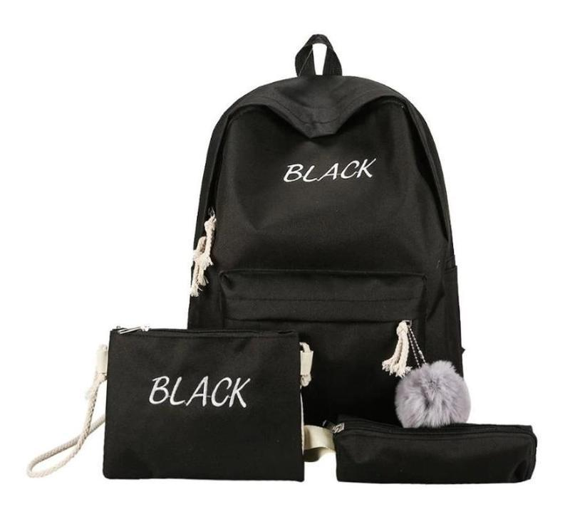 🔥🔥🔥рюкзак женский для школы черный 4 в 1 : рюкзак+сумочка+пена...