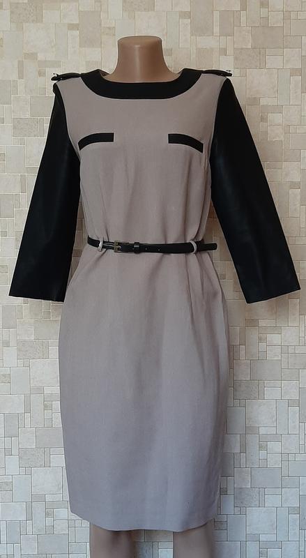 Стильное платье-футляр с кожаными рукавами papaya.