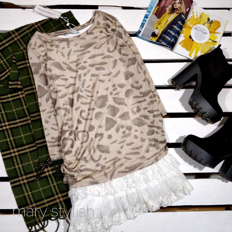 Платье туника с кружевом под леопард + люрекс