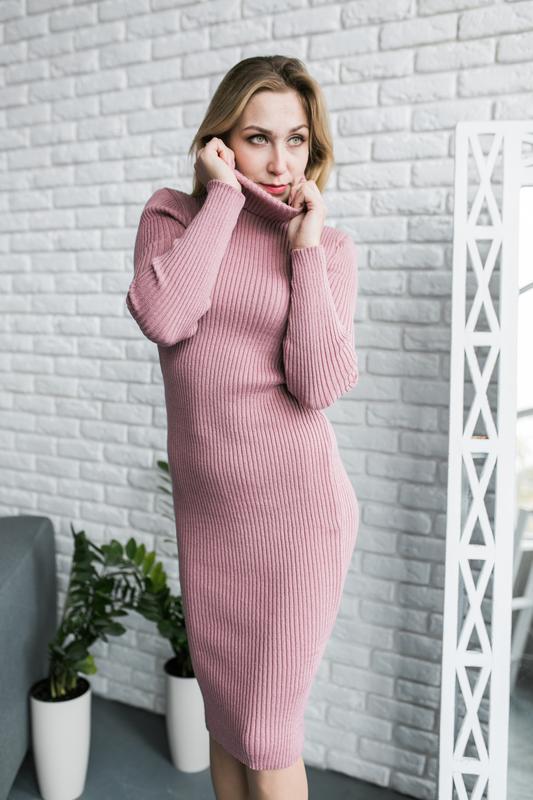 Платье гольф, платье миди, платье рубчик, платье резинка, плат...