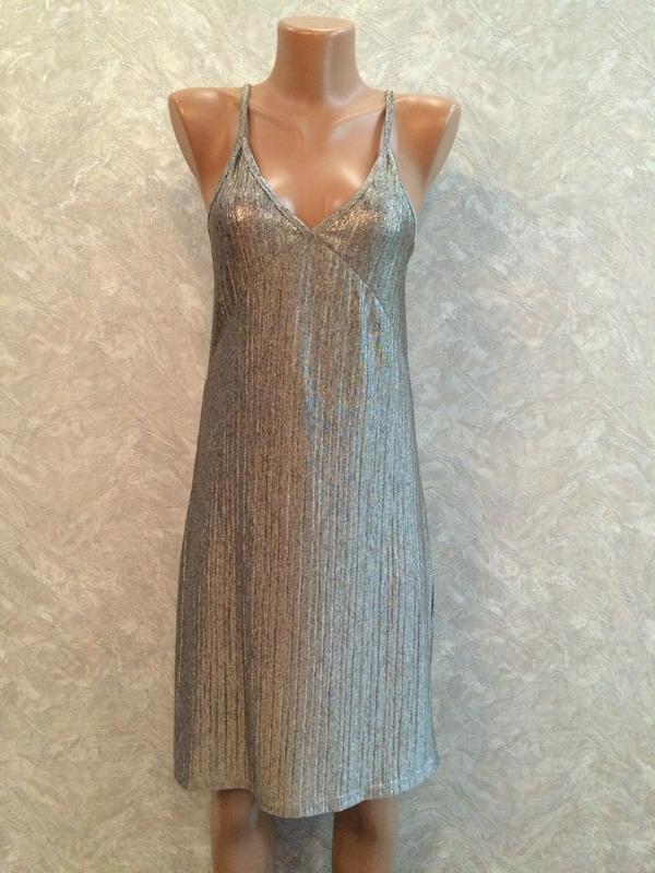Серебристое вечернее платье сарафан размер 8-10
