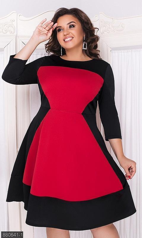 Шикарное контрастное платье большие размеры