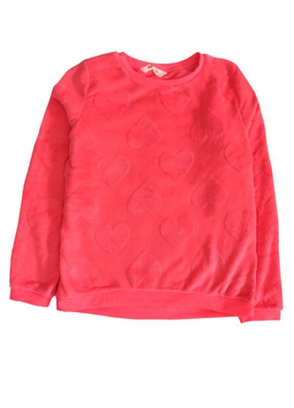 Свитшот, меховушка теплая на девочку h&m 14+, 170см ярко-розовая