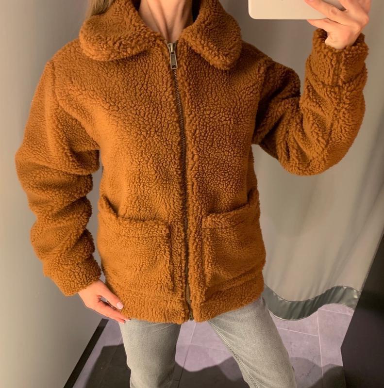 Плюшевая шуба тедди меховушка куртка amisu есть размеры