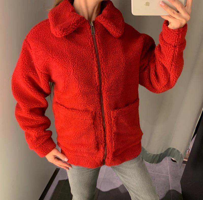 Красная плющевая шуба тедди меховая куртка amisu есть размеры