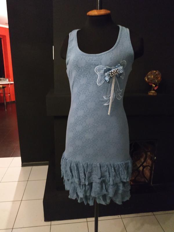 Кружевное платье с брошью кружево италия оброки рюши гипюр гип...