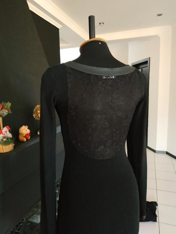 Чёрное платье миди с кружевной спинкой кружево теплое деми эко...