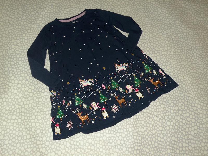 Новогоднее платье единороги 4-5 лет
