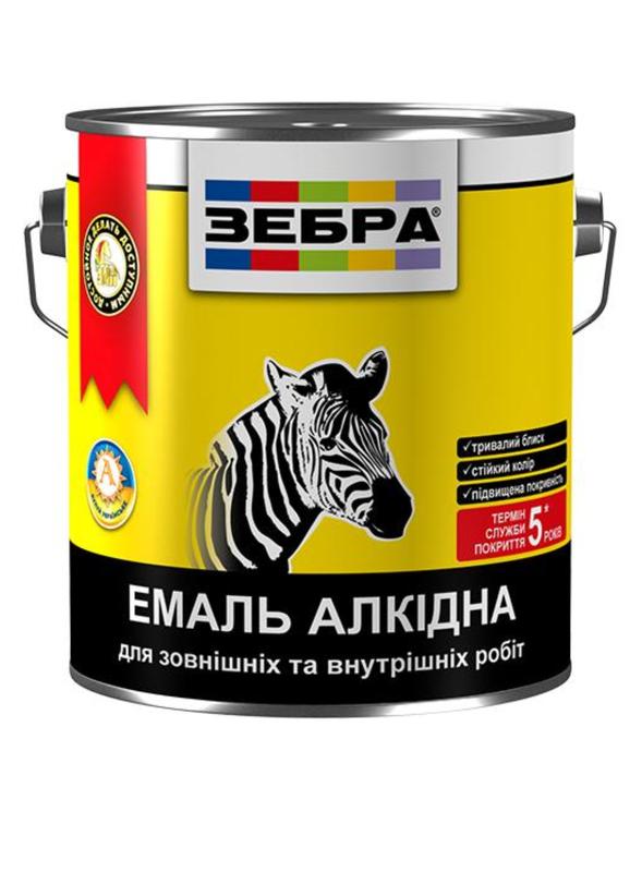 Краска зебра эмаль белая матовая Зебра 12 кг