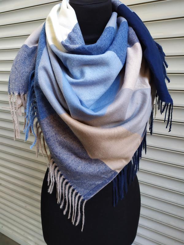 Теплый платок косынка синий