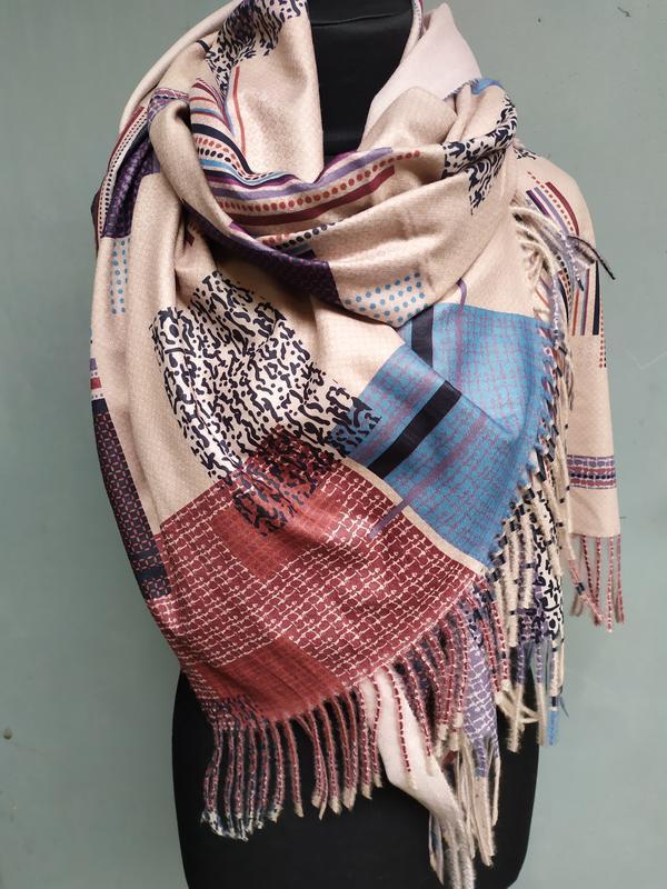 Теплый палантин шарф беж геометрия в наличии