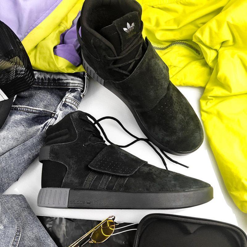 Шикарные мужские зимние кроссовки adidas tubular winter black❄...
