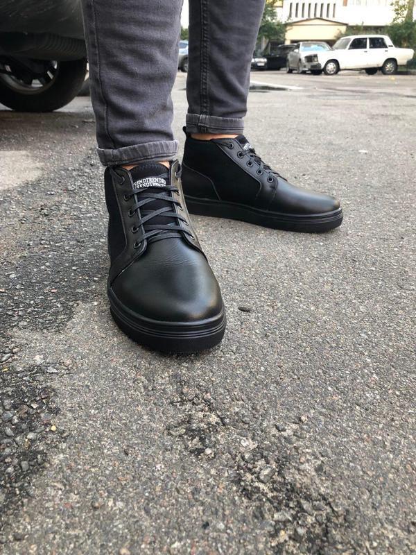 Мужские зимние черные ботинки из кожи и замши - Фото 4